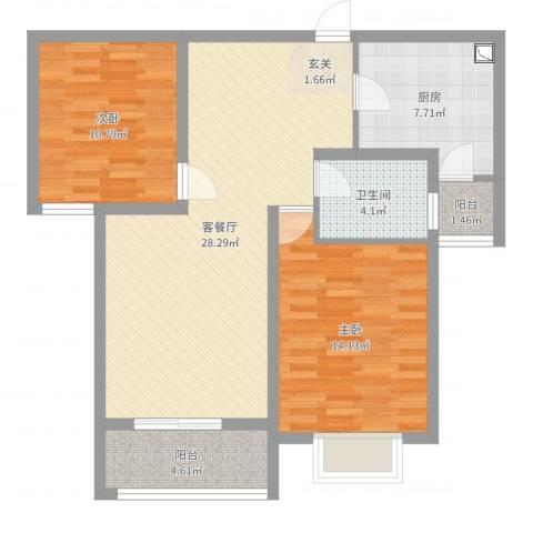 世好国际花园2室2厅1卫1厨89.00㎡户型图