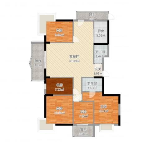 菁华领第5室2厅2卫1厨152.00㎡户型图