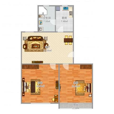 嘉秀坊2室1厅1卫1厨113.00㎡户型图