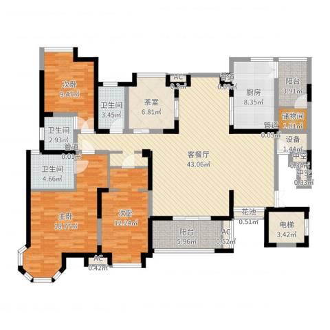 海门东恒盛国际公馆3室2厅3卫1厨161.00㎡户型图