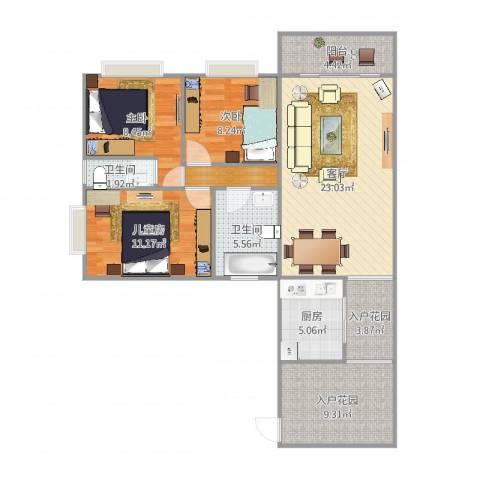 江南华都3室1厅2卫1厨104.00㎡户型图