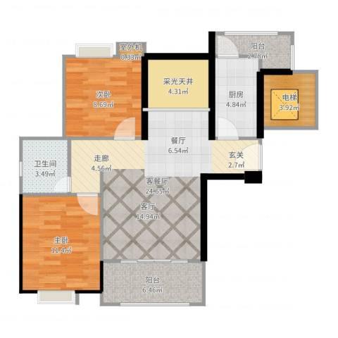 中誉南岸公馆2室2厅1卫1厨97.00㎡户型图