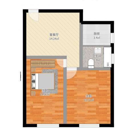 金桥四街坊2室2厅1卫1厨72.00㎡户型图