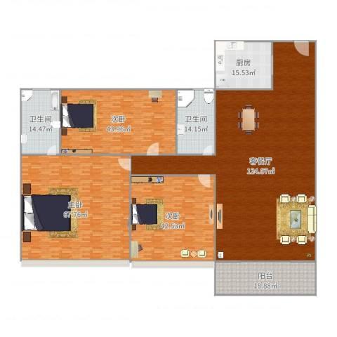 宝翠花园3室2厅2卫1厨427.00㎡户型图