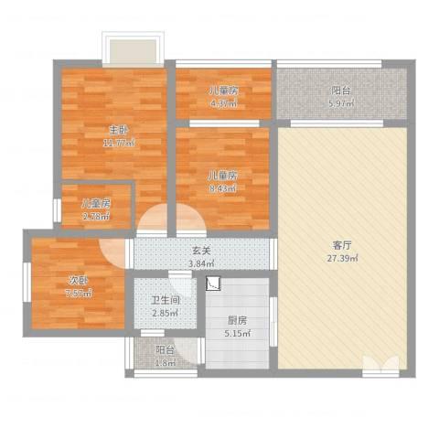 金剑华府4-2现代5室1厅1卫1厨102.00㎡户型图