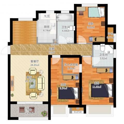 大连港天下粮仓3室2厅2卫1厨116.00㎡户型图