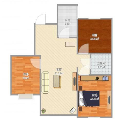郡原小石城3室1厅1卫1厨92.00㎡户型图
