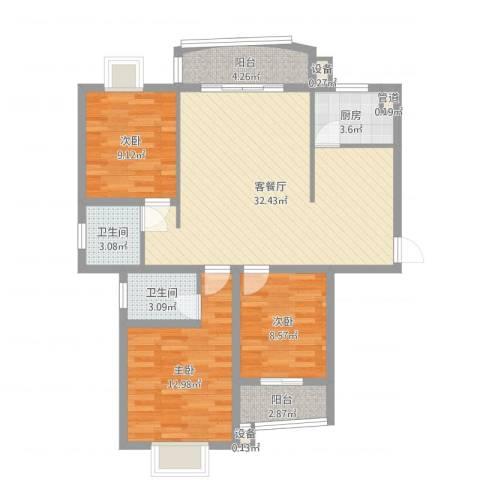 天赐良园3室2厅2卫1厨101.00㎡户型图