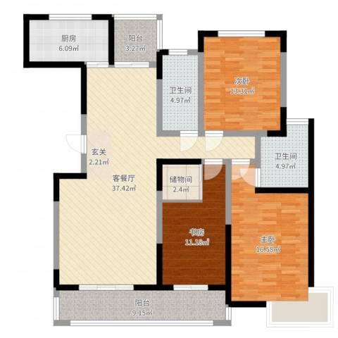 金水华都3室2厅2卫1厨137.00㎡户型图