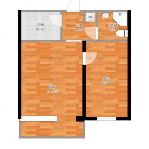 东大桥路1室1厅1卫1厨58.00㎡户型图
