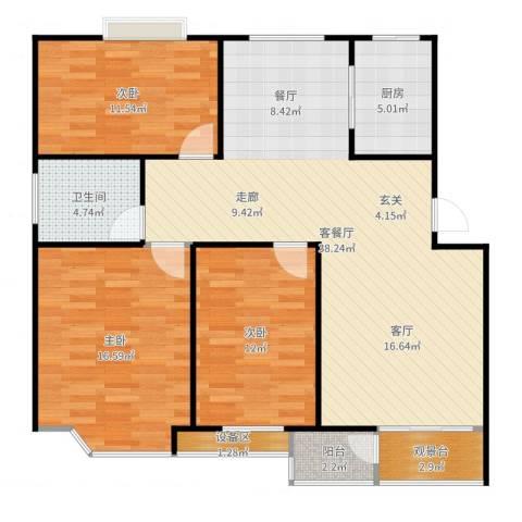 阿尔卡迪亚3室2厅1卫1厨118.00㎡户型图