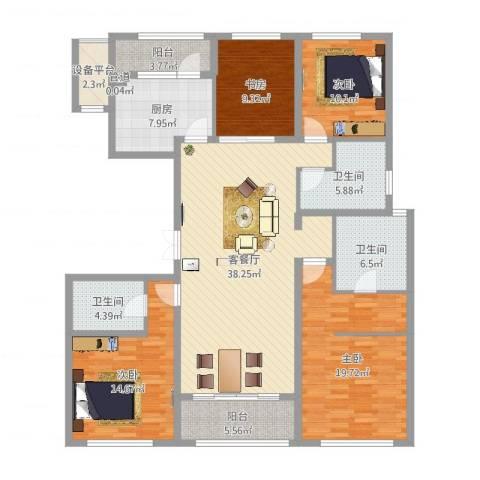 九龙仓国宾1号国宾山4室2厅3卫1厨161.00㎡户型图