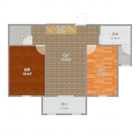 红星海岚谷2室1厅1卫1厨87.00㎡户型图