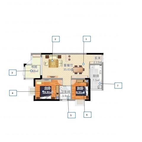 云天锦绣前程3室2厅1卫1厨76.62㎡户型图