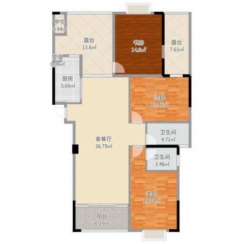 运河名都3室2厅2卫1厨154.00㎡户型图
