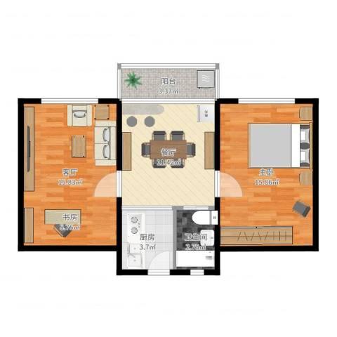 佳虹小区1室2厅1卫1厨69.00㎡户型图