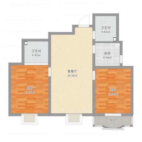城南秀色2室2厅2卫1厨96.00㎡户型图