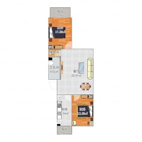 龙腾苑三区2室1厅1卫1厨97.00㎡户型图