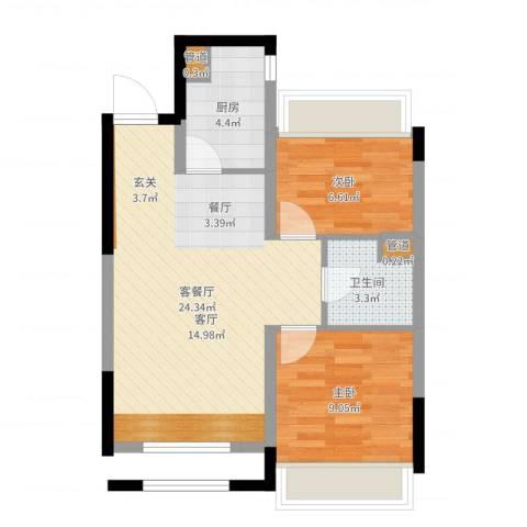 郡原小石城2室2厅1卫1厨60.00㎡户型图