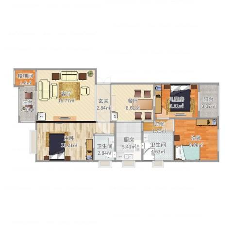 盛世公馆3室2厅3卫1厨103.00㎡户型图