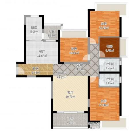 金岛花园4室2厅2卫1厨155.00㎡户型图