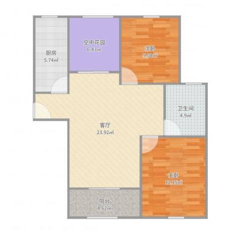 置地青湖语城2室1厅1卫1厨83.00㎡户型图