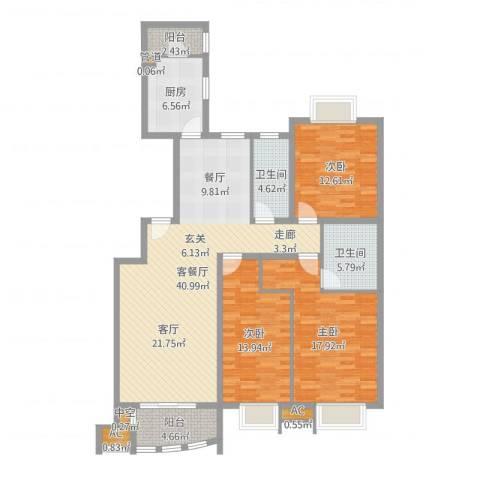 兴蒙时代广场3室2厅2卫1厨111.21㎡户型图