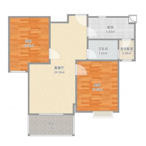 港鑫城2室2厅1卫1厨82.00㎡户型图