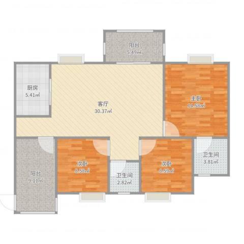 绿湖爱伦堡3室1厅2卫1厨111.00㎡户型图