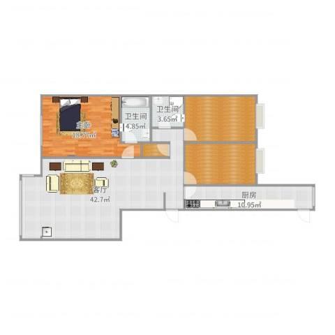 丰台区梅市口甲10号院3单元1室1厅2卫1厨131.00㎡户型图