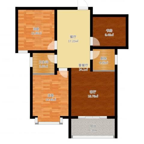 南海国际3室2厅1卫1厨105.00㎡户型图