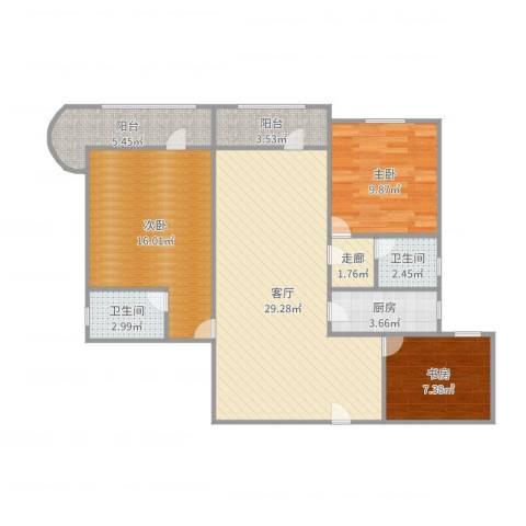 兰港大楼3室1厅2卫1厨103.00㎡户型图