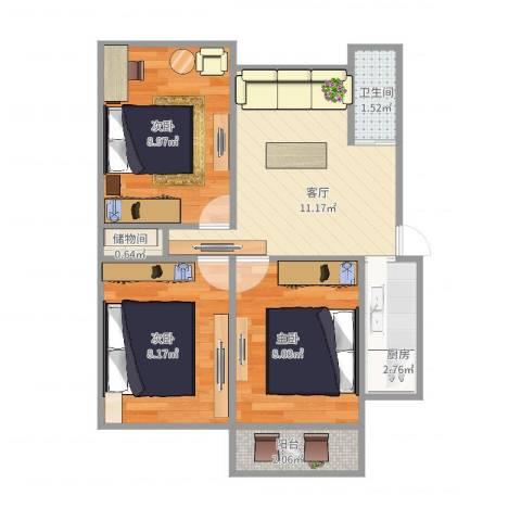 昌北财大宿舍3室1厅1卫1厨60.00㎡户型图