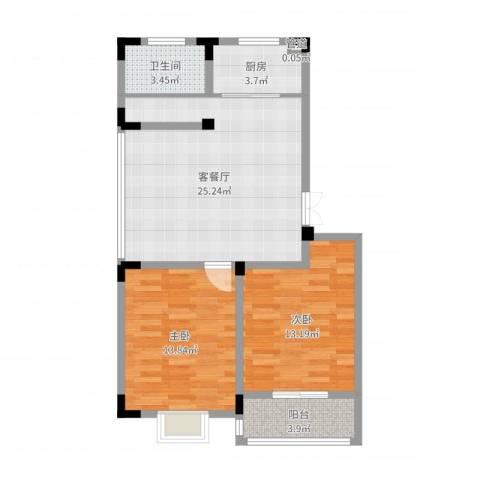 荷花苑2室2厅2卫1厨79.00㎡户型图