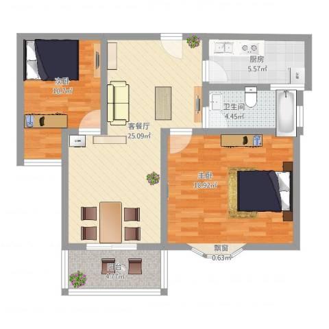 久新悦城2室2厅1卫1厨100.00㎡户型图
