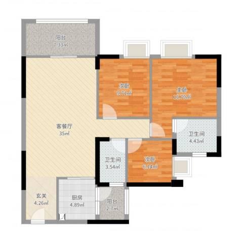 荔园悦享星醍3室2厅2卫1厨109.00㎡户型图