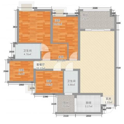 龙湖江与城千山万树4室2厅2卫1厨144.00㎡户型图