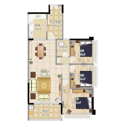 侨城水岸3室2厅1卫1厨112.00㎡户型图