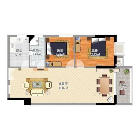 桂林翰林轩2室2厅1卫1厨94.00㎡户型图