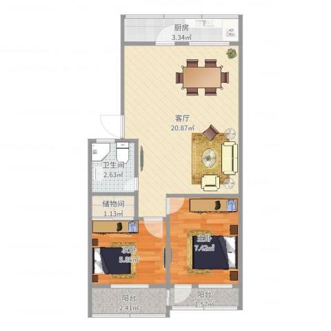 明湖小区2室1厅1卫1厨57.00㎡户型图