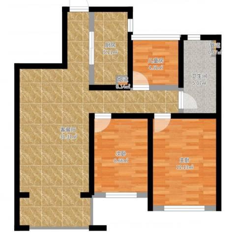 首创・悦都3室2厅2卫2厨84.00㎡户型图