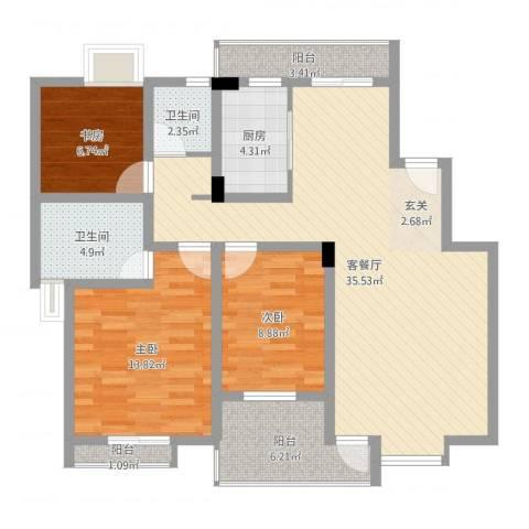 望山公馆3室2厅2卫1厨109.00㎡户型图