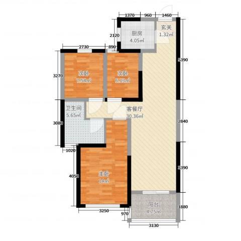 江南翡翠3室2厅1卫1厨106.00㎡户型图
