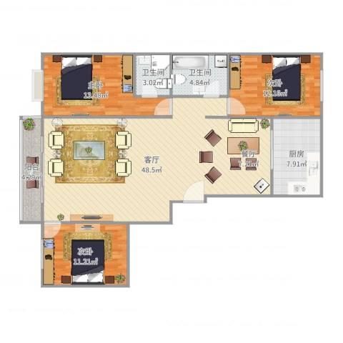 康宁小区3室1厅2卫1厨132.00㎡户型图