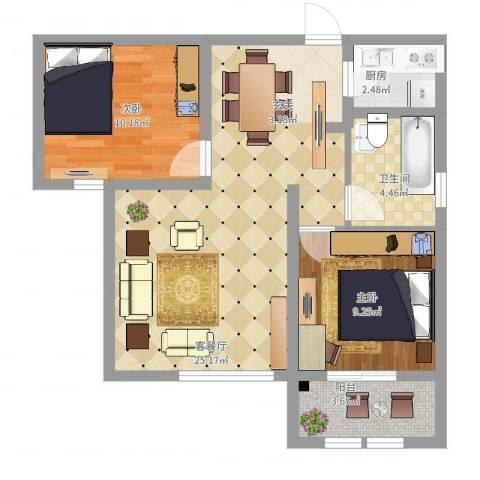 枫桦豪景2室2厅1卫1厨80.00㎡户型图