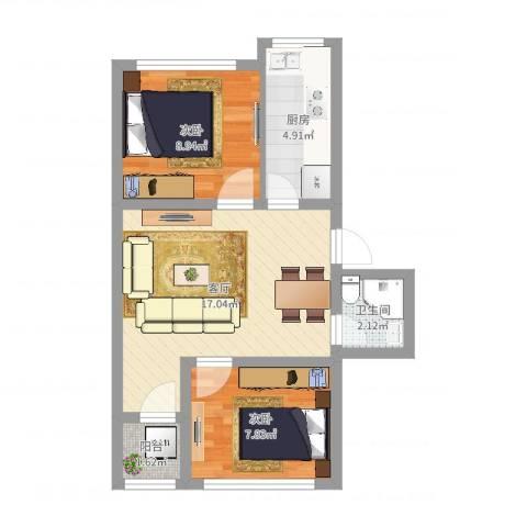 华严社区2室1厅1卫1厨62.00㎡户型图