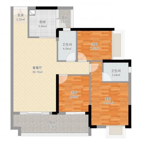 越秀星汇云锦3室2厅2卫1厨108.00㎡户型图