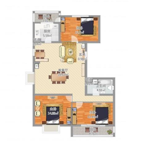 太嘉小区3室2厅1卫1厨123.00㎡户型图