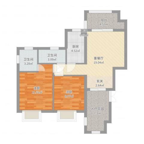 富力湾四季半岛2室2厅2卫1厨78.00㎡户型图