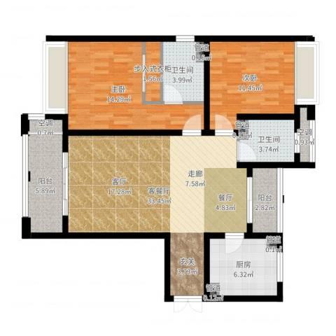 尼德兰花园二期2室2厅2卫1厨107.00㎡户型图